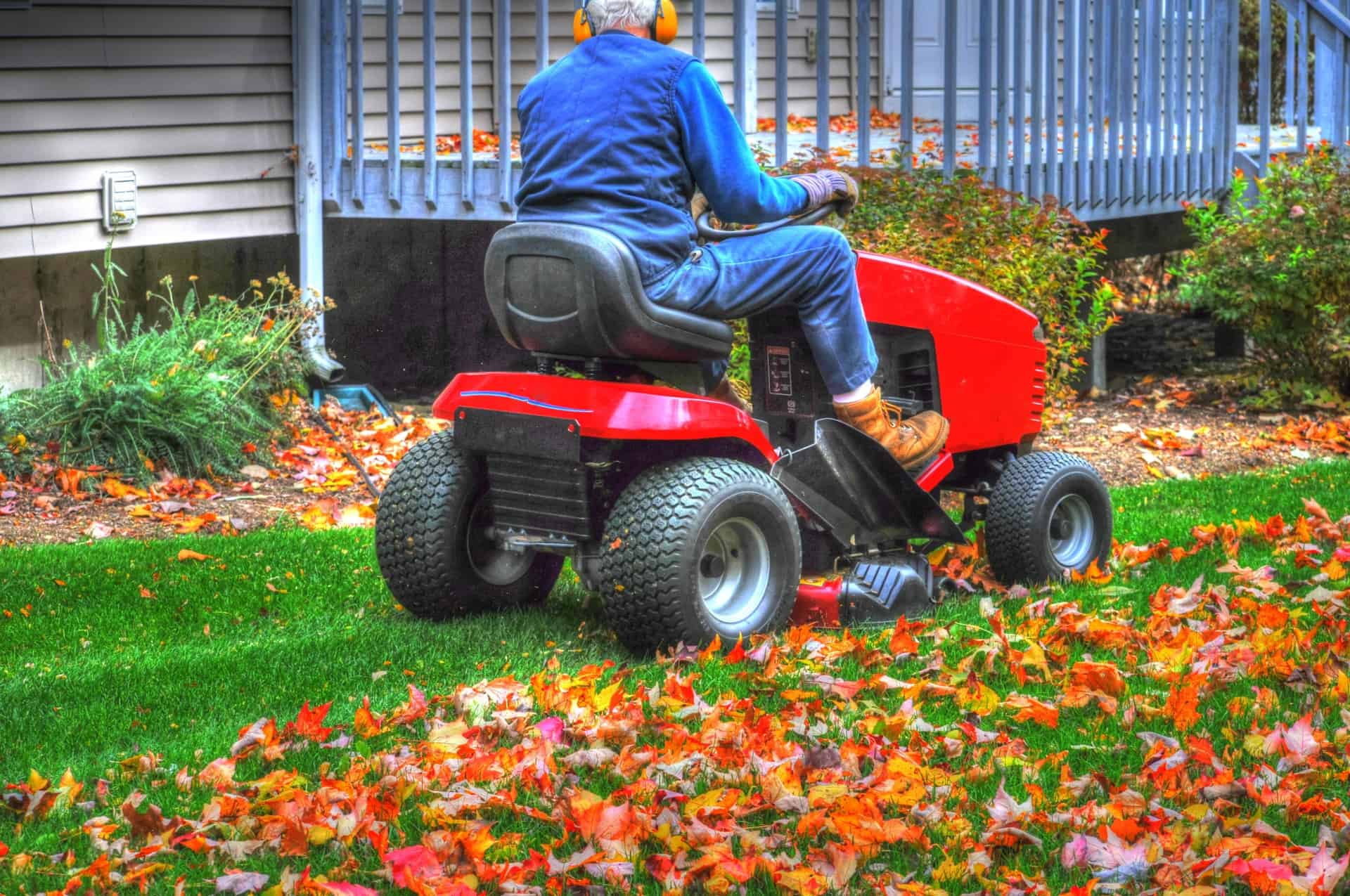 Mulch leaves with mower