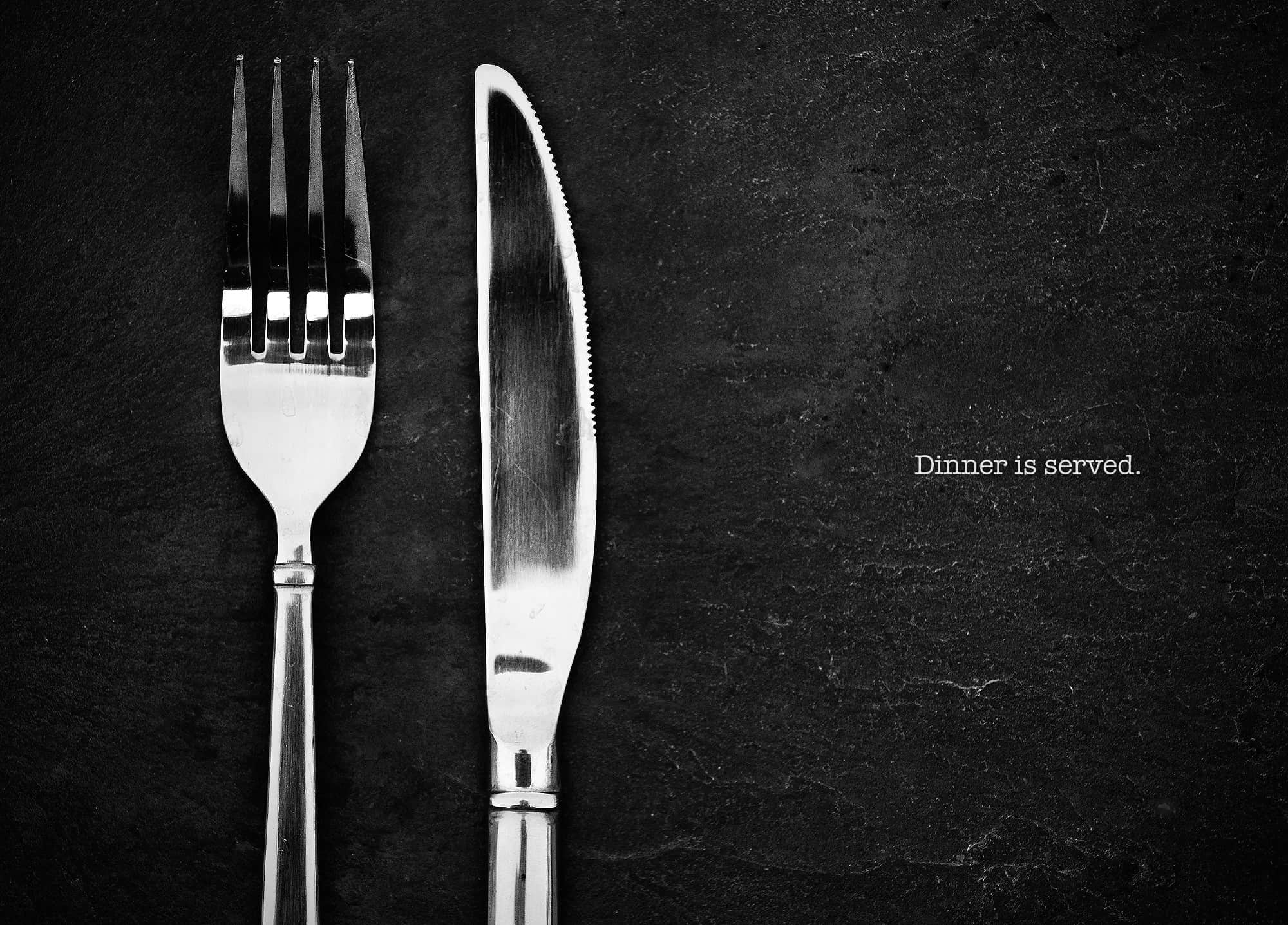 cutlery on black surface