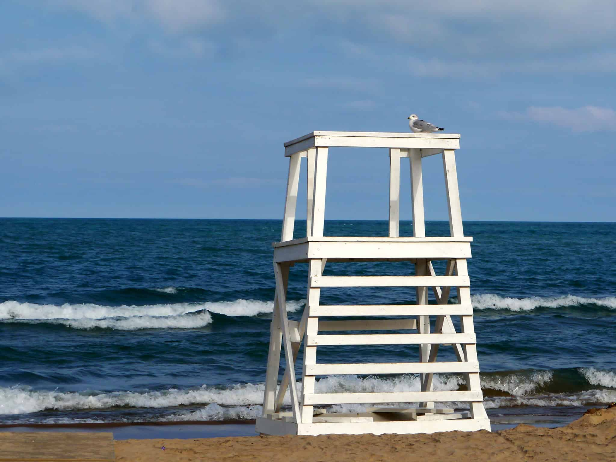 Lifeguard stand at Lighthouse Beach, Evanston IL