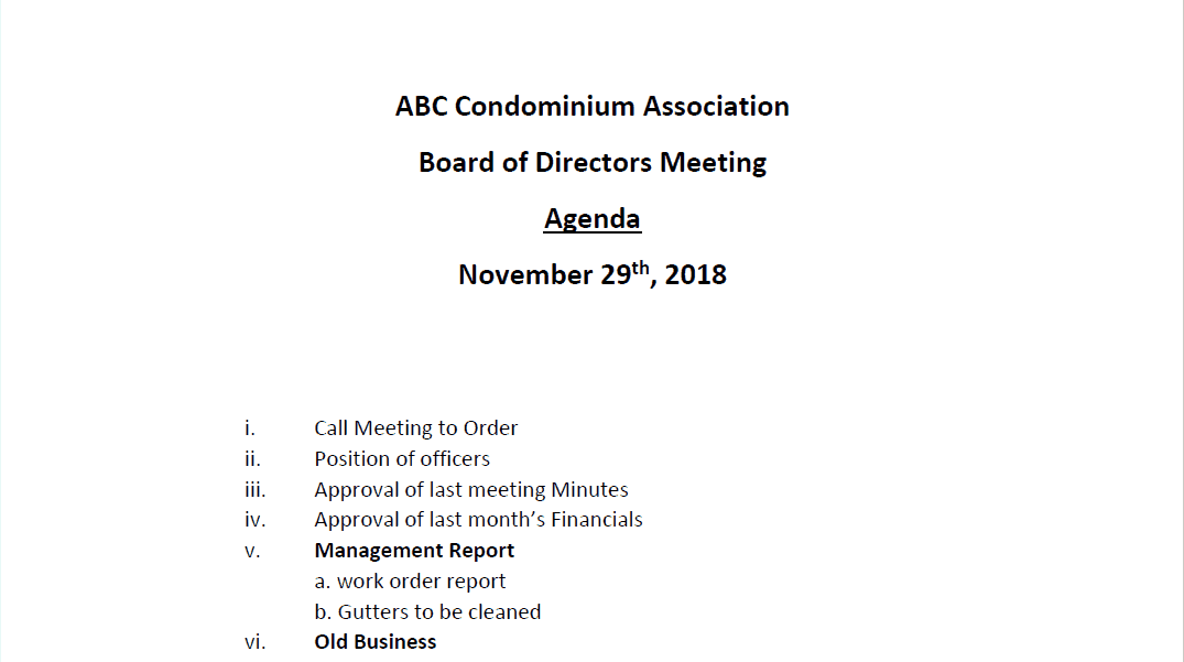 HOA Board Meeting Agenda Template