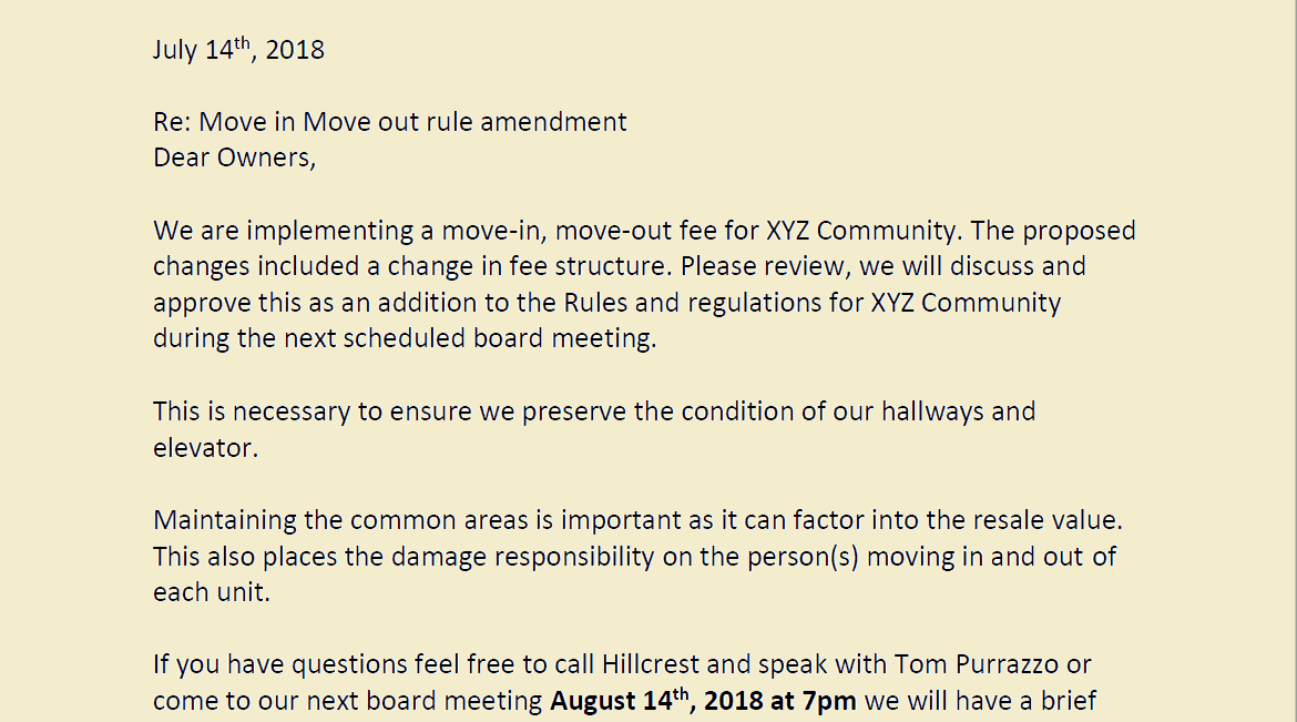 HOA Rule Amendment Notice